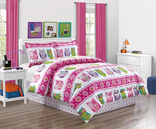 (Girls Kids Bedding-Owl Design Polka Dot Tween Teen Dream Bed In A Bag. (Double) FULL SIZE 4 - Piece Comforter set-Love, Hearts-Hot Pink, Purple, Blue, Green and White)