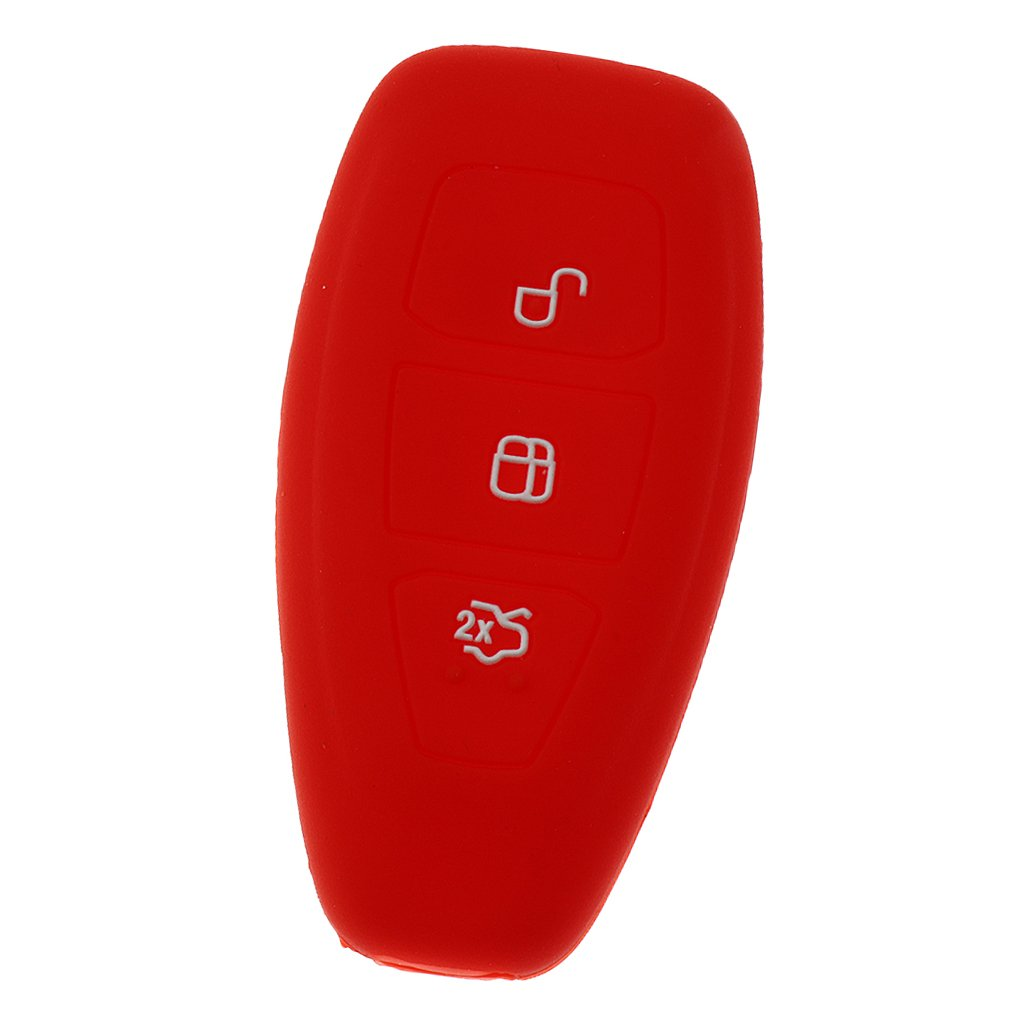 Negro y Rojo Sharplace Funda de Fob de 3 Botones Caso de Silicona de Clave Control Remoto para Automoviles
