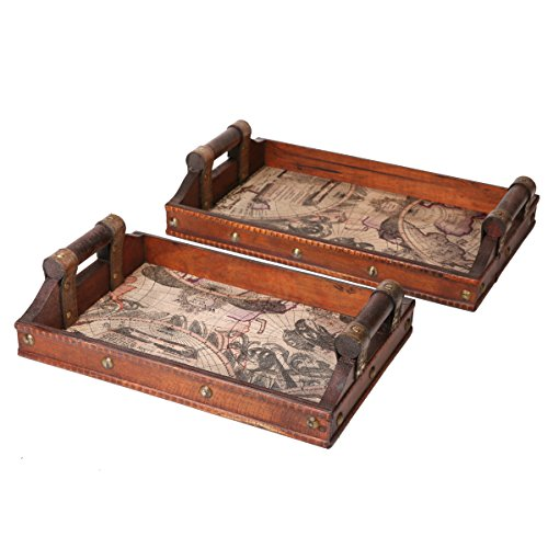 SLPR Worldly Wooden Designer Serving Tray Set with Handles (Set of 2) | Wood Nesting Rectangular Travel Themed Butler Breakfast Vintage Style Serving Tray