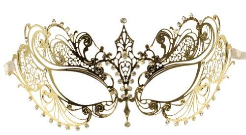 Gold Bat Mask (RedSkyTrader Womens Metal Laser Cut Venetian Mask One Size Fits Most Gold)