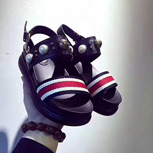 Pearl Estate Sandali Femminili Nuovi Sandali Di Pelle Muffin,Black,Eu37Cn38