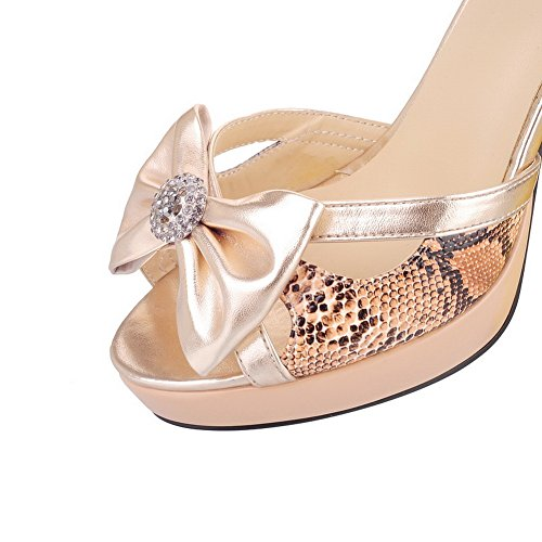 6 Toe Glas Sandalen Material Bowknot und VogueZone009 Womens Stiletto UK Diamant Weiches High Plattform mit Gold Open Heel Solid PU Peep 7aHwSatq