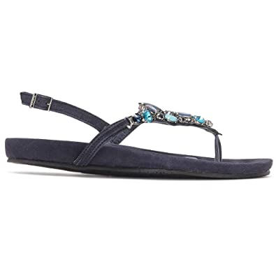 87aaf8271996 Cuplé Leather and Rhinestone Sandals Summer Collection Women Navy Blue
