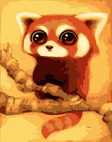 PaintingStudio red small panda DIY oil Painting by number kit Picture canvas 16x20 inch (Framed) ()