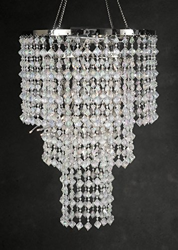 Dexon Power Battery Operated Chandelier 15'' LED Crystal Chandelier 3 Tier