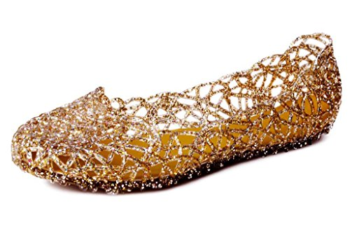 Gold Jelly Ballet Women's Kunsto to Off Nest up Flats 50 Bird vOnqxIqT
