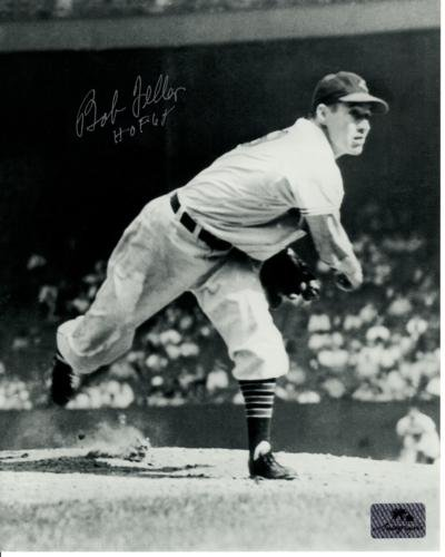 Bob Feller Autographed Cleveland Indians (BW Throwing) 8x10 Photo w/