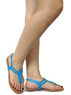 5fa0384a805 Trend Fashions Fashion Erica T-Strap Sandal Small Wedge Flat Strap Thong