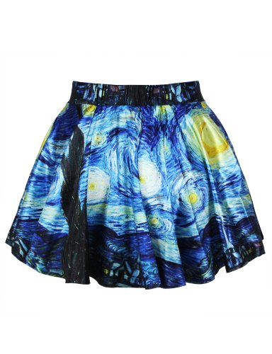 LaSuiveur Womens Van Gogh Starry Night Print Stretchy Flared Pleated Casual Mini Skirt -