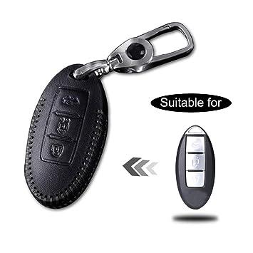Funda Cuero para Llave Nissan 3 Botones Llave Control Remoto Inteligente línea Negro con Llaveros 1 PC Modelo A