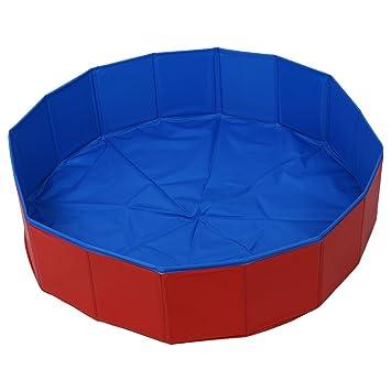 Piscina de mascota - TOOGOO(R)Piscina de verano cama de casa de natacion de perro mascota plegable Azul + Rojo: Amazon.es: Productos para mascotas