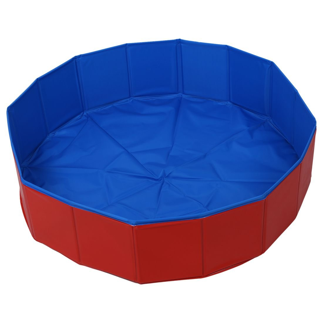 FurryFriends Foldable Dog Pool - Folding Dog/Cat Bath Tub - Collapsible Pet Spa Whelping Box Large (50''x 12''), Red