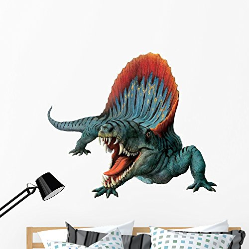 Dimetrodon Hissing Wall Decal by Wallmonkeys Peel and Stick Graphic (48 in W x 42 in H) WM126862