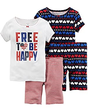 Carters Little Girls 4-Piece Snug Fit Cotton PJs Free to Be Happy Navy