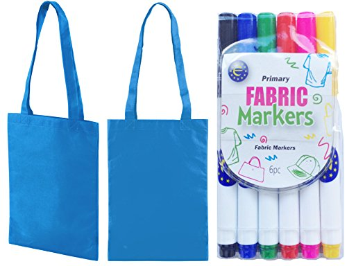 5 Pack Mini Tote Shopper Bags with Fabric Pens Ideal Party Bags to Design 5 Colours Aqua blue