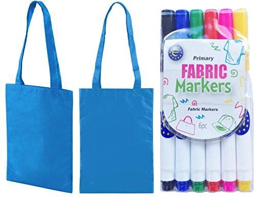 Idéal tissu de fête Shopper pour Mini 5 couleurs stylo Lot Motif sac sacs eau de Bleu Bleu en main 5 à zwqx8dC