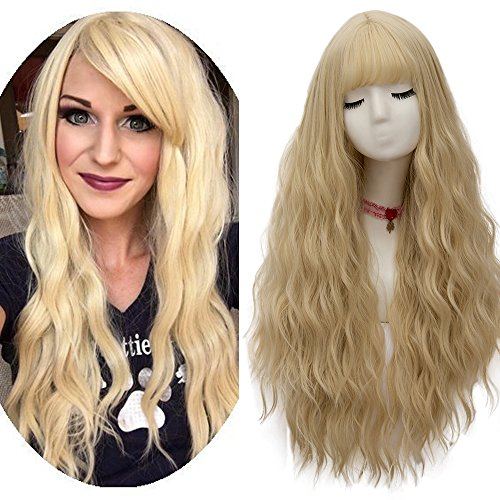 netgo Women's Light Blonde Wigs Long Fluffy Curly Wavy Hair Wigs for Girl Heat Friendly Synthetic Cosplay Halloween Party -