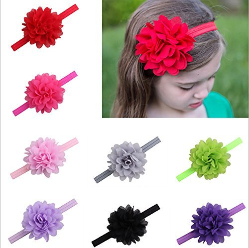 Vinmax 18Pcs Baby Girls Headbands Flowers&Soft Hairband&Chiffon Flower European Children Elastic Hair Band for Baby Girl Headdress