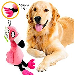 Pet Craft Supply Flamingo Jiggle Giggle Funny Giggling Sound Wiggly Shaking Tug Fetch Soft Chew Plush Dog Toy