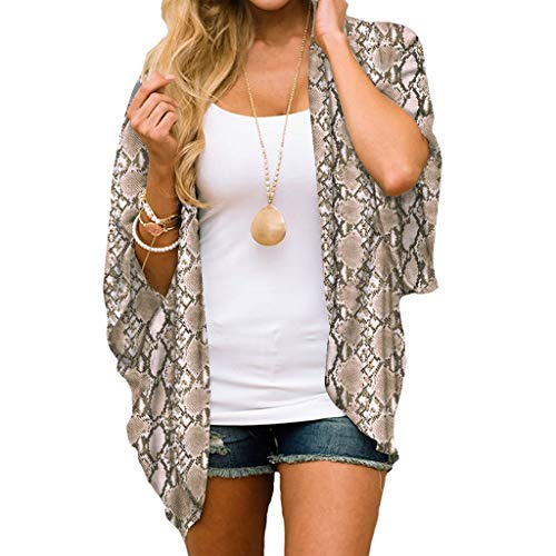 Women Chiffon Snake Print Kimono Loose Half Sleeve Shawl Cardigan Cover Up Brown