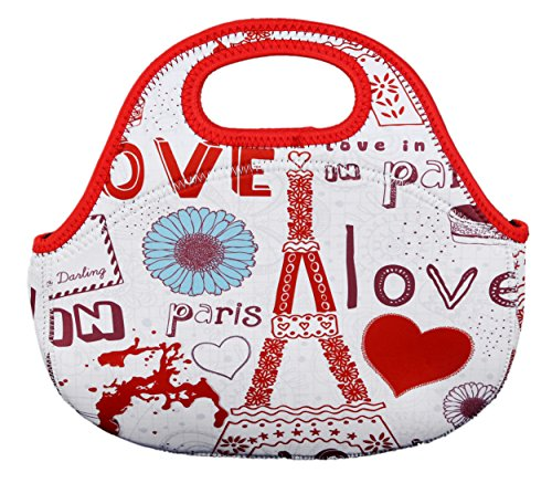 Neoprene Lunch Bag/Paris France Eiffel Tower Insulated Back To School Lunch Tote Bag - For Women, School, Work, Travel, Red/Multicolor