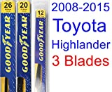 2008-2015 Toyota Highlander Replacement Wiper Blade Set/Kit (Set of 3 Blades) (Goodyear Wiper Blades-Premium) (2009,2010,2011,2012,2013,2014)