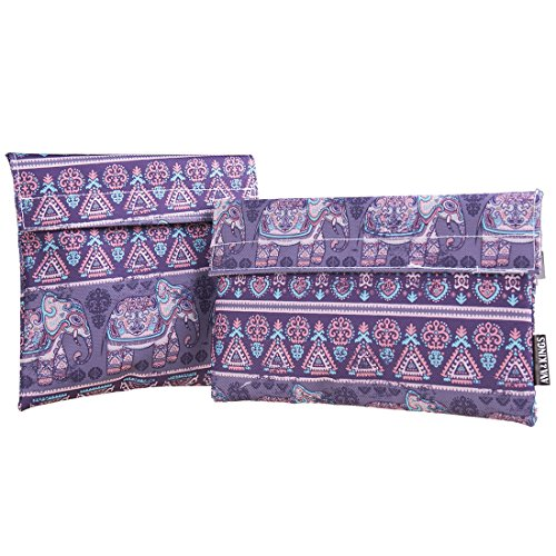Ava & Kings Reusable Eco Friendly Lunch Food Sandwich Fabric Snack Bags Insulated - Great for School, Work, Picnics, Men & Women - Set of 2: 7x7 in & 6x9 in - Purple Elephants