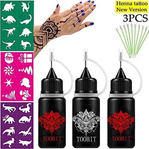 Jagua/Henna Temporary Tattoo Kit,1Black/2 Red -Body Art Painting Drawing Free 3 Sheets Free Adhesive Stencils and 10 PCS Cotton Swab