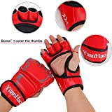 MMA Gloves Kickboxing Punching Gloves - Half-finger UFC Boxing Fight Gloves with Adjustable Wrist Band for Men Women for Muay Thai Sanda Sparring Bag Training Mixed Martial Arts Red One Size Fits Most