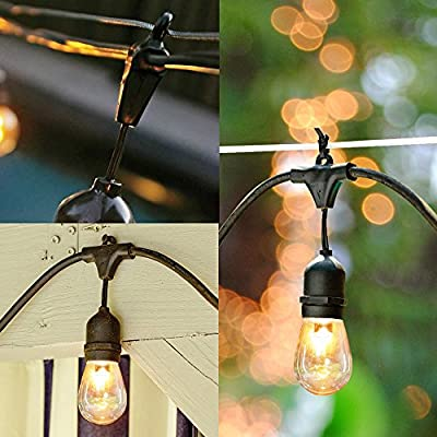 SUNTHIN Pack of 2 48ft String of Lights with 15 x E26 Sockets and Hanging Loops 18 x 11 Watt S14 Bulbs 3 Spares Indoor Outdoor String Lights Commercial String Lights Patio Lights Light Strings