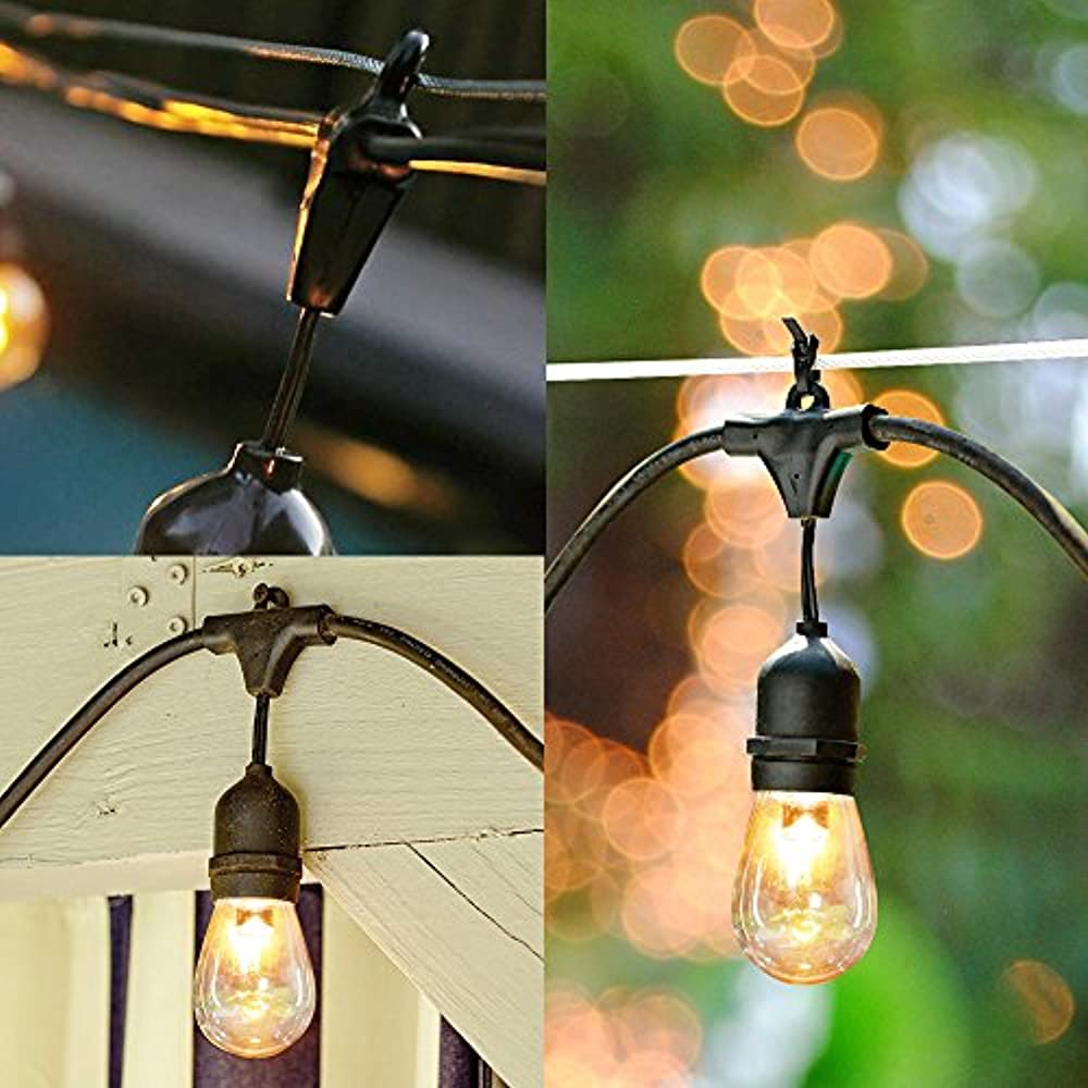 18 x Incandescent Bulbs SUNTHIN 48ft Outdoor String Lights with 15 E26 Sockets