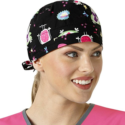 Zoe And Chloe Women's Adjustable Frog Print Scrub Hat Princess Frog Black