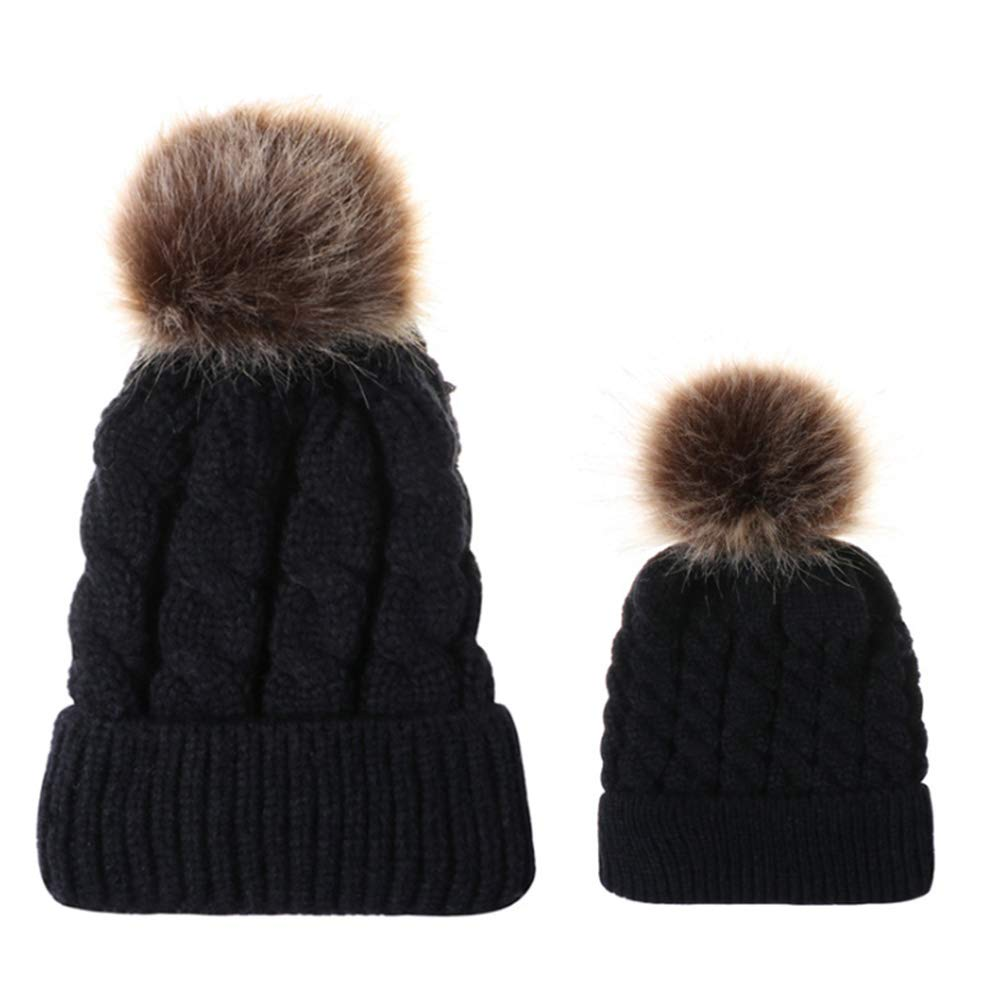 Cozyhoma Sombrero de Punto para mam/á y beb/é Sombrero de Familia para Invierno Capucha con pomp/ón a Juego con la Familia CapBeanie Ski Cap para Mantener Caliente