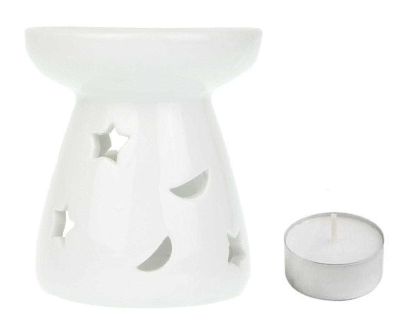 Profumo lampada luna & stelle con lumino–Ceramica–Bianco–9cm Ancient Wisdom