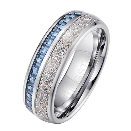 Tiitc Rings for Men and Women Tungsten Carbide Meteorite with Blue Carbon Fiber Inlay Wedding Engagement Band 8mm (10.5)