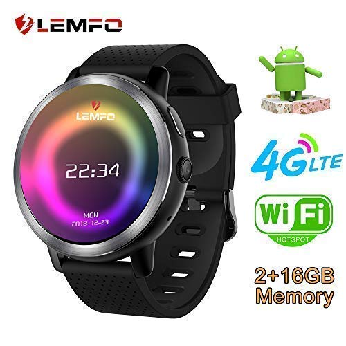 LEMFO. LEM8 Smart Watch, Android 7.1.1 4G LTE, 2MP Camera of Watch Phone, MT6739,2GB + 16GB, 580Mah Battery Bluetooth/GPS/Heart Rate Monitor for Man ...