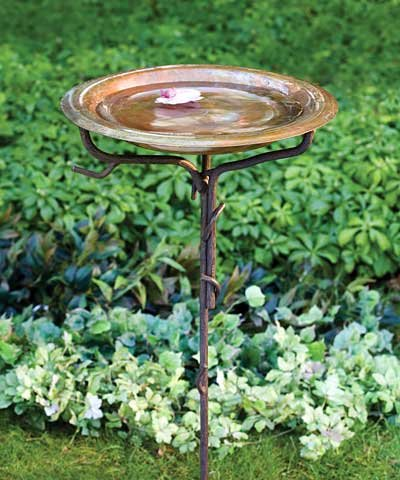 Copper Birdbath with Iron Twig Stake