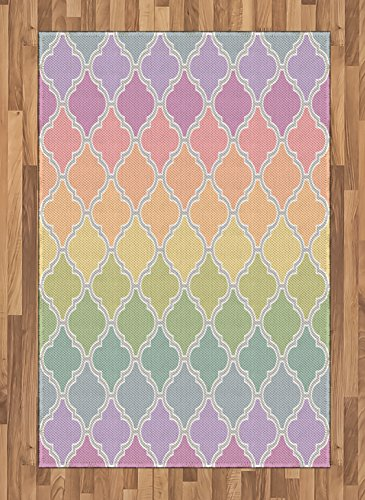 Lunarable Geometric Area Rug, Moroccan Tile Style Geometric Design Soft Pastel Transitioned Rainbow Colors, Flat Woven Accent Rug for Living Room Bedroom Dining Room, 4' X 5.7', Multicolor ()