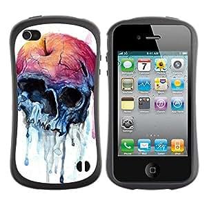 "Pulsar iFace Series Tpu silicona Carcasa Funda Case para Apple iPhone 4 / iPhone 4S , Manzana Cráneo azul de la acuarela de la Salud"""
