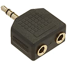 Monoprice 107204 3.5mm Stereo Plug to 2 X 3.5mm Stereo Jack Splitter Adaptor, Gold Plated