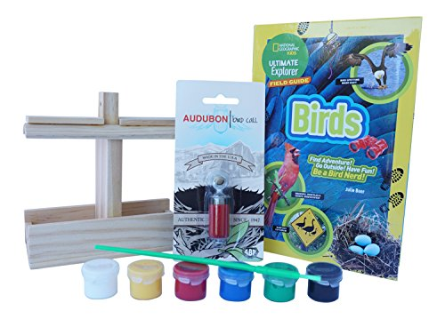 Bird Feeder House Kit for Children: Kid DIY Wood Bird Feeder Kit with Paint, Audubon Bird Call Whistle, Bird Field Guide Book by National Geographic