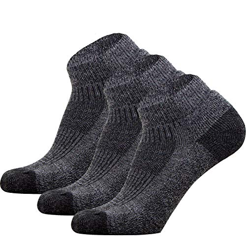 Pure Athlete Walking Socks - Comfortable Padded Walking Socks - Use for Jogging, Running, Working Out (3 Pack - Black, Medium)