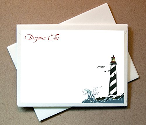 Personalized Gifts - Lighthouse Note Cards (40 Non-foldover Cards and Blank Envelopes) by Little Notes by Comptime