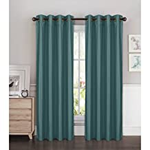 Window Elements Kim Faux Silk Extra Wide 108 x 84 in. Grommet Curtain Panel Pair, Grey Teal