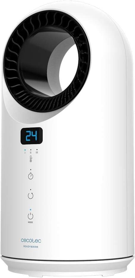 Cecotec Calefactor Bajo Consumo Ready Warm 8200 Bladeless. Potencia 1500 W, Mando a Distancia, Pantalla LED, Control táctil, 3 Modos, Oscilación 60º, Temporizador, Triple Sistema de Seguridad