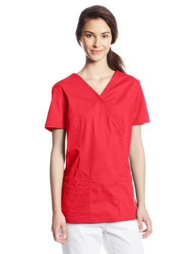 Cherokee Women's Workwear Scrubs Core Stretch Mock-Wrap Top (X-Large), Red