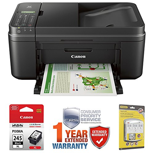 Canon PIXMA MX492 WiFi All-In-One Compact Size Inkjet Printer (0013C002) w/ Canon Black Ink Bundle Includes, Genuine Canon Black Fine Ink Cartridge, 6-Outlet Surge Adapter & 1 Year Extended Warranty by Beach Camera