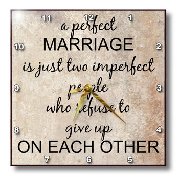 3dRose dpp_180092_3 A Perfect Marriage, Black Lettering on Picture of Marble Print Background-Wall Clock, 15 by 15-Inch