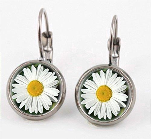White Daisy Leverback Earrings