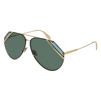 Alexander McQueen AM0092S 003, Montures de Lunettes Mixte Adulte, Or (003/Gold/Green), 65